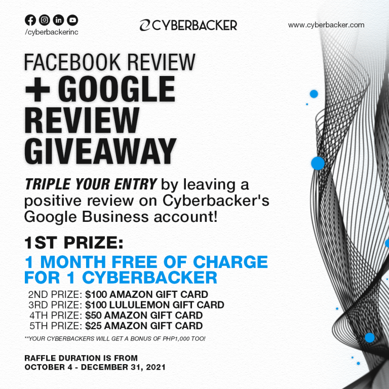 Cyberbacker Facebook Review Giveaway + Google Review Giveaway